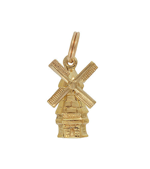 Vintage Moveable Dutch Windmill Charm in 14 Karat Yellow Gold