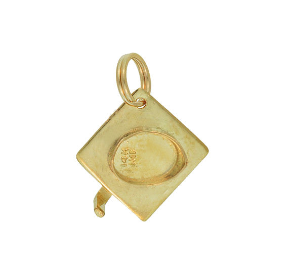 Vintage Graduation Cap Charm in 14 Karat Yellow Gold - Item: C652 - Image: 1