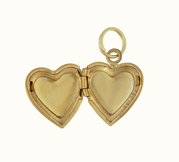 Vintage Floral Heart Engraved Locket Pendant in 14 Karat Yellow Gold - Item: C653 - Image: 1