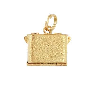 Vintage Moveable Opening Camera Locket Charm in 14 Karat Yellow Gold - Item: C657 - Image: 2