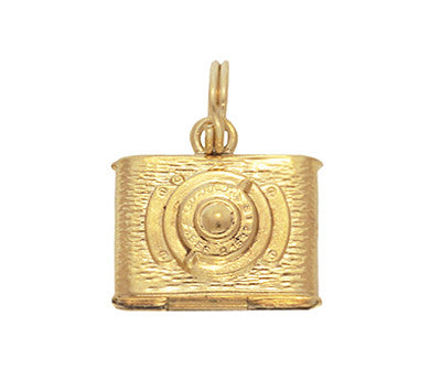 Vintage Moveable Opening Camera Locket Charm in 14 Karat Yellow Gold