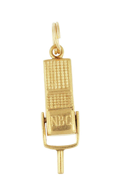 Moveable Vintage Announcer's Microphone Charm in 14 Karat Yellow Gold - Item: C663 - Image: 1