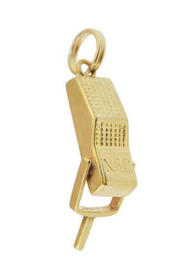 Moveable Vintage Announcer's Microphone Charm in 14 Karat Yellow Gold