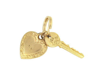 Puffed Heart and Key to Success and Love Vintage Charm in 14 Karat Yellow Gold