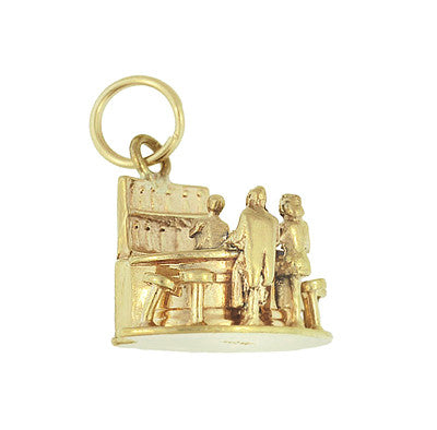 Moveable Bartender, Bar and Customer Vintage Charm in 14 Karat Yellow Gold - Item: C665 - Image: 1
