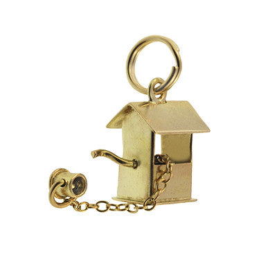 Movable Vintage Wishing Well Charm in 14 Karat Gold - Item: C667 - Image: 1