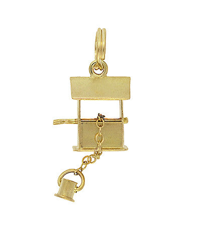 Movable Vintage Wishing Well Charm in 14 Karat Gold