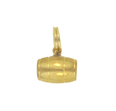 Three Dimensional Vintage Barrel Charm in 18 Karat Yellow Gold
