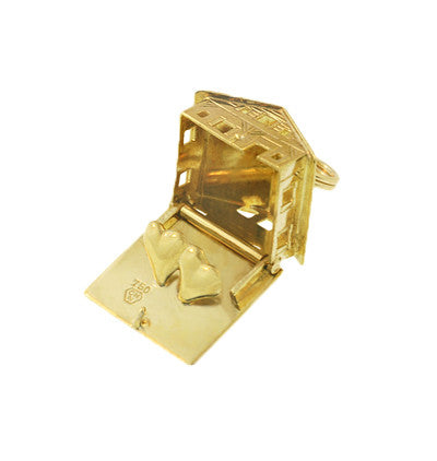 Moveable Loving Hearts House and Home Vintage Charm in 18 Karat Yellow Gold - Item: C673 - Image: 2
