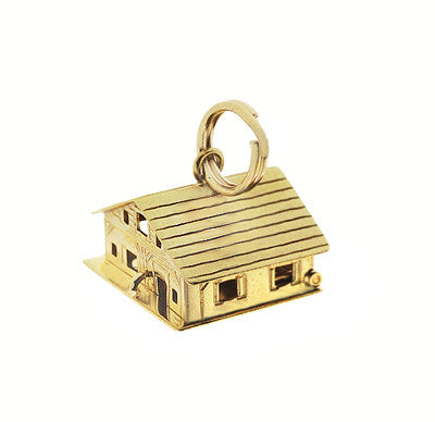 Moveable Loving Hearts House and Home Vintage Charm in 18 Karat Yellow Gold - Item: C673 - Image: 1