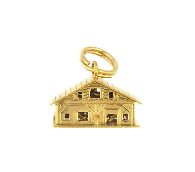 Moveable Loving Hearts House and Home Vintage Charm in 18 Karat Yellow Gold