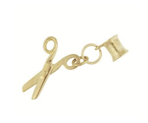 Moveable Spool of Thread and Scissors Vintage Charm in 14 Karat Yellow Gold