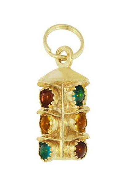 Vintage Stoplight Pendant Charm in 14 Karat Yellow Gold - 1960's Traffic Signal Charm