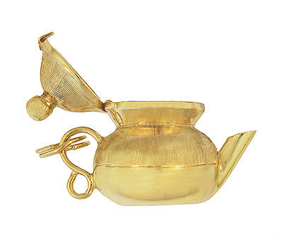 Moveable Tea Pot Charm in 14 Karat Yellow Gold - Item: C679 - Image: 1