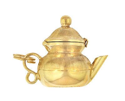 Moveable Tea Pot Charm in 14 Karat Yellow Gold