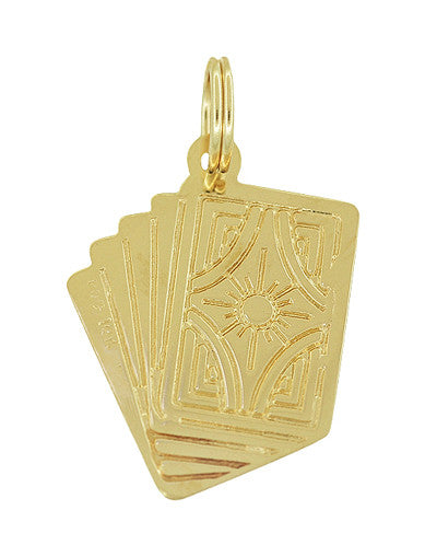 Royal Flush Card Charm in 14 Karat Yellow Gold - Item: C682 - Image: 1