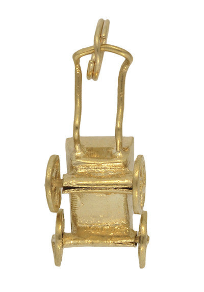 Vintage Moveable Baby Carriage Charm in 14 Karat Yellow Gold - Item: C683 - Image: 1