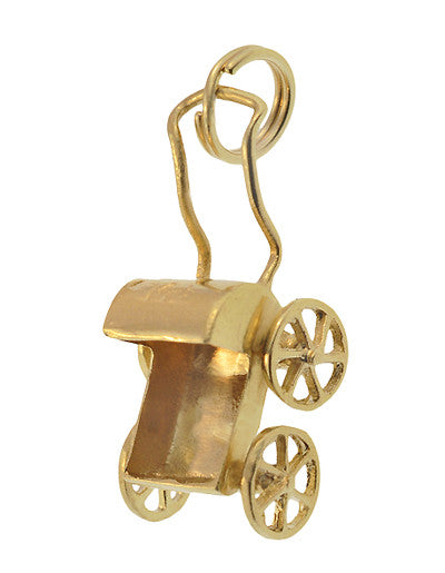 Vintage Moveable Baby Carriage Charm in 14 Karat Yellow Gold