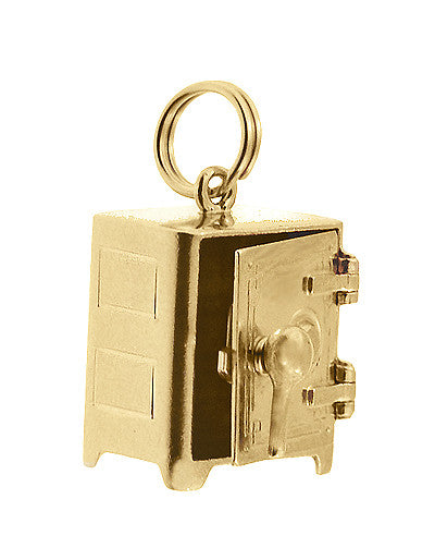 Moveable Safe Vault Charm in 14 Karat Yellow Gold - Item: C695 - Image: 1