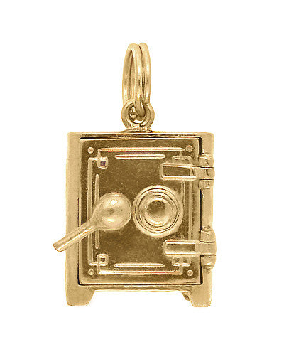 Moveable Safe Vault Charm in 14 Karat Yellow Gold