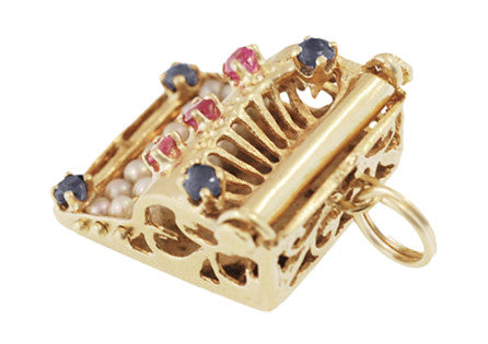 Vintage Gem Set Movable Typewriter Charm in 14 Karat Gold - Item: C697 - Image: 1