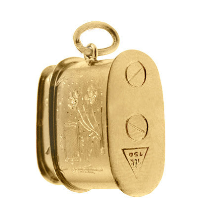 Vintage Moveable Miniature Cigarette Lighter Pendant Jewelry Charm in 18 Karat Yellow Gold - Item: C698 - Image: 2