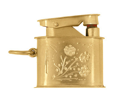 Vintage Moveable Miniature Cigarette Lighter Pendant Jewelry Charm in 18 Karat Yellow Gold