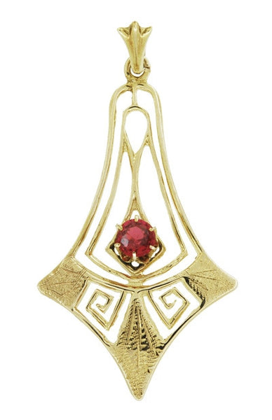 Antique Filigree Lavalier Art Deco Pendant Necklace in 12 Karat Yellow Gold