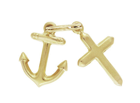 Cross and Anchor Vintage Charm in 14 Karat Gold