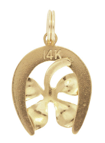 Lucky 4-Leaf Clover in Horseshoe Charm in 14 Karat Yellow Gold - Item: C711 - Image: 1