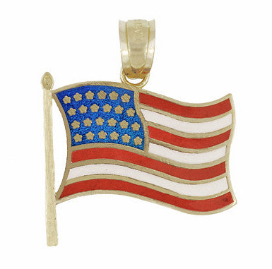 """God Bless America"" Engraved and Enameled American Flag Charm in 14 Karat Gold"