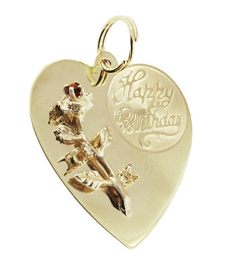 Vintage Happy Birthday Rose and Heart Pendant in 14 Karat Gold