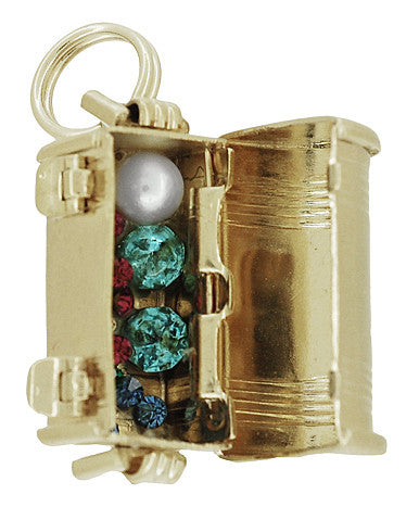 Movable Treasure Chest with Jewels Inside Charm Pendant in 14K Gold - Item: C715 - Image: 2