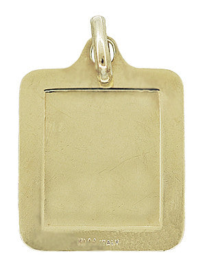 Rectangular Engraved Jesus Medallion Pendant in 14K Gold - Item: C718 - Image: 1