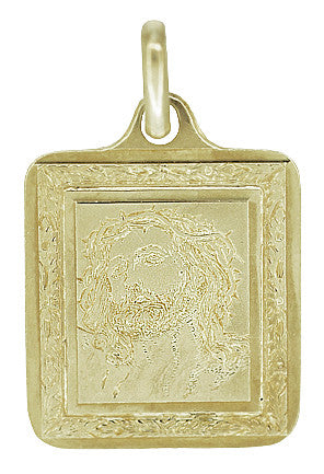 Rectangular Engraved Jesus Medallion Pendant in 14K Gold