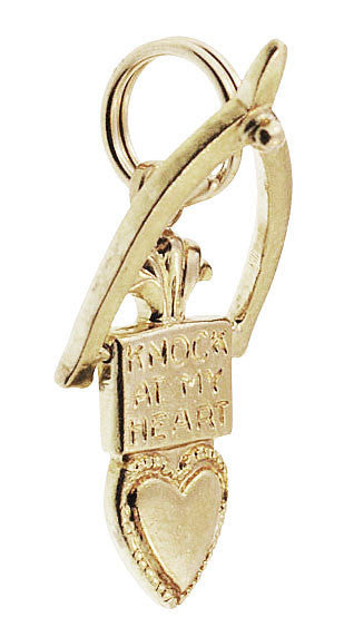 Movable Knock At My Heart Door Knocker Charm in 10K Yellow Gold - Item: C731 - Image: 1
