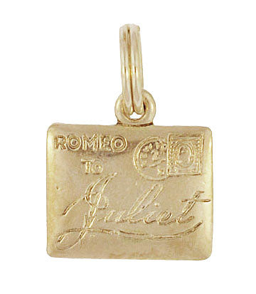 Romeo To Juliet Love Letter Charm in 10K Yellow Gold