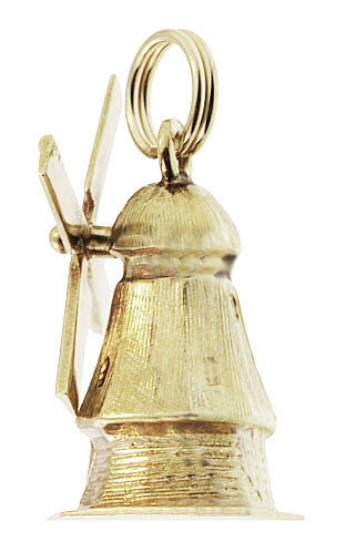 Vintage Movable Windmill Charm in 14 Karat Yellow Gold - Item: C733 - Image: 1
