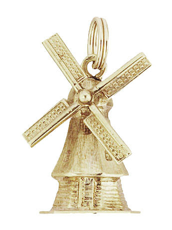 Vintage Movable Windmill Charm in 14 Karat Yellow Gold