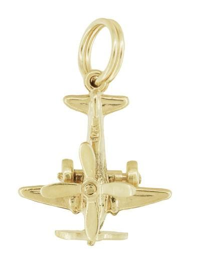 Movable Propellers Airplane Charm in 10K Yellow Gold - Item: C735 - Image: 2