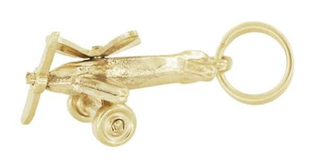 Movable Propellers Airplane Charm in 10K Yellow Gold