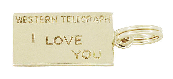 "Western Telegraph ""I LOVE YOU"" Charm in 10 Karat Yellow Gold"