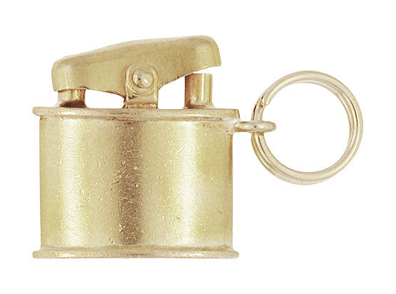 1950s Vintage Cigarette Lighter Charm in 10 Karat Gold - Movable