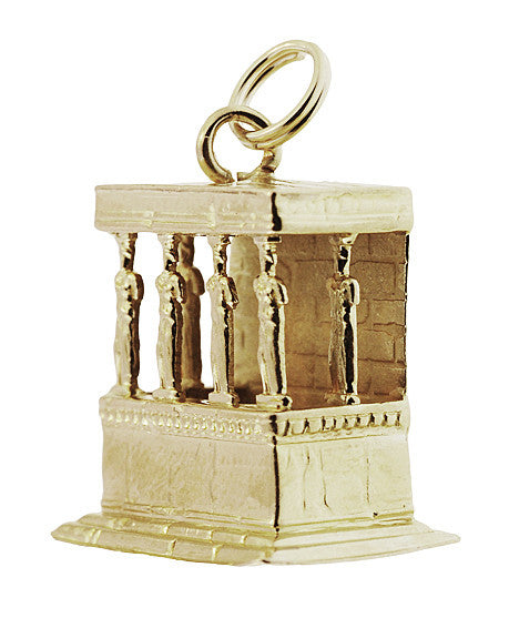 Porch of the Caryatids Erechtheion Greek Temple Pendant Charm in 18K Yellow Gold - Item: C743 - Image: 1