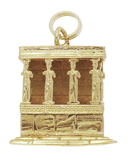 Porch of the Caryatids Erechtheion Greek Temple Pendant Charm in 18K Yellow Gold
