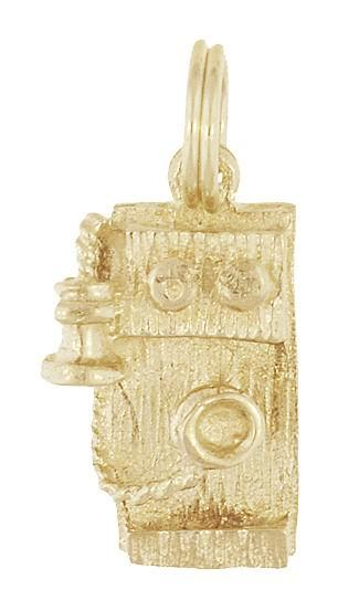 Antique Wall Telephone Charm in 14 Karat Gold