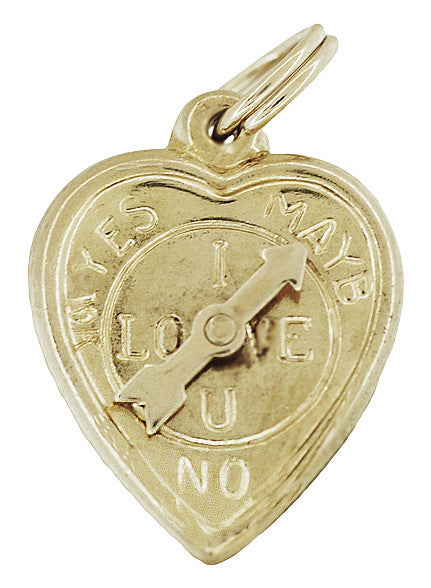 Heart Love Meter Charm with Movable YES - MAYBE - NO Spinning Arrow in 10K Yellow Gold