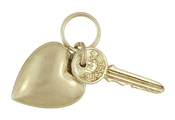 Love and Success Key to Your Heart Moveable Charm in 14 Karat Gold