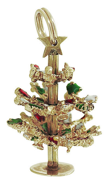 Vintage Christmas Tree Charm in 14 Karat Yellow Gold