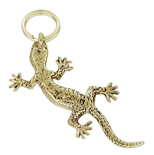 Gecko Lizard Charm in 10 Karat Yellow Gold - Item: C758 - Image: 1
